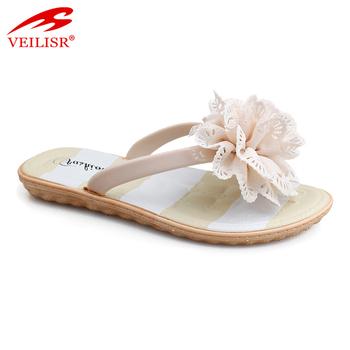 2d4cb5ce60f0 New Style Flower Design Fancy Ladies Pvc Footwear Women Flip Flops ...