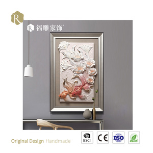 3D Art Peaceful Embossed Wall Painting Embossed Home Goods Wall Canvas Art Embossment Painting