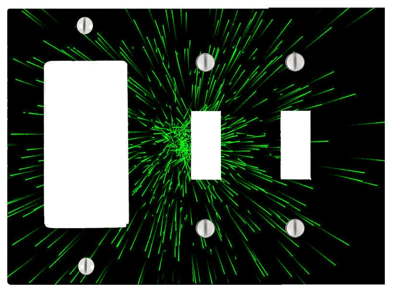 Bright Green Particles Green Light Speed in Space 3 Gang, 2 Toggle, 1 Dimmer, Decorator Electrical Switch Wall Plate (6.56 x 4.69in)