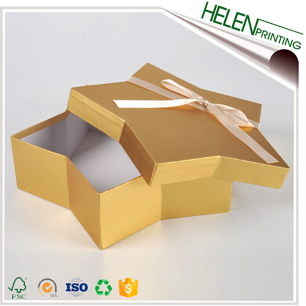 Custom full color printed paper cardboard star shaped gift boxes
