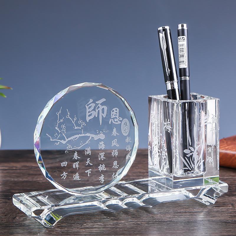 Wholesale crystal personalized pen holder / High grade office desk top gifts crystal desktop crystal pen holder for office
