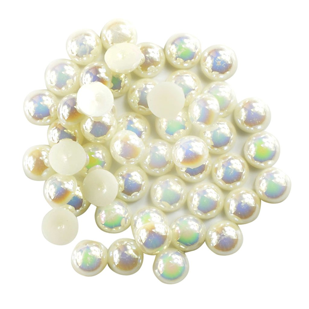 Homyl Pack of 100 Flat back Pearl Cabochon Half Pearl Beads 8mm for Scarpbooking Card Making, Wedding Shoes, Dress Decoration, DIY Embellishment, Hair Bows Making Supplies - beige