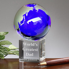 Custom design blue globe awards crystal award and trophy plaque for sonvenir gift