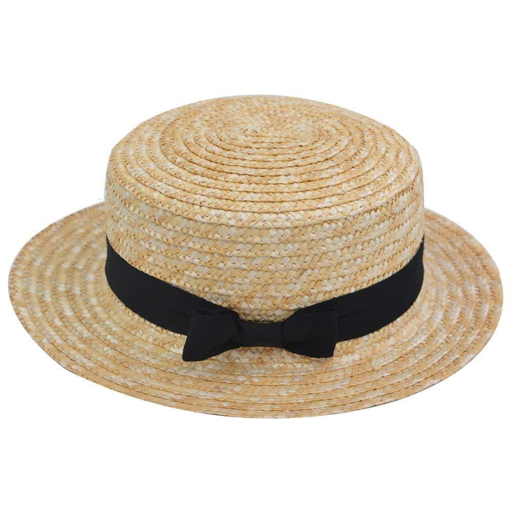 Adult Unisex Straw Boater Hat Yellow Black Ribbon Wide Brim Summer Barber Shop