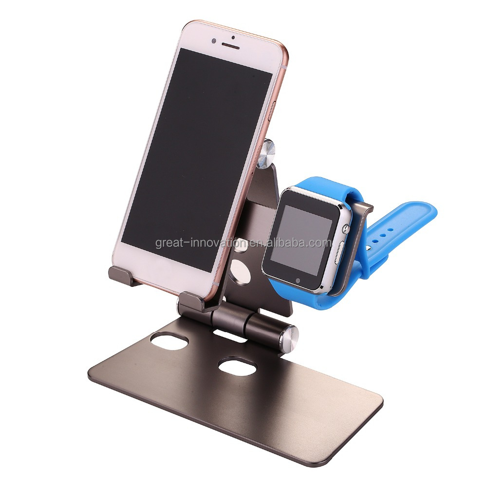 Foldable 2 in 1 Aluminium Desktop Tablet Cell Phone Stand Holder Watch Charging Dock