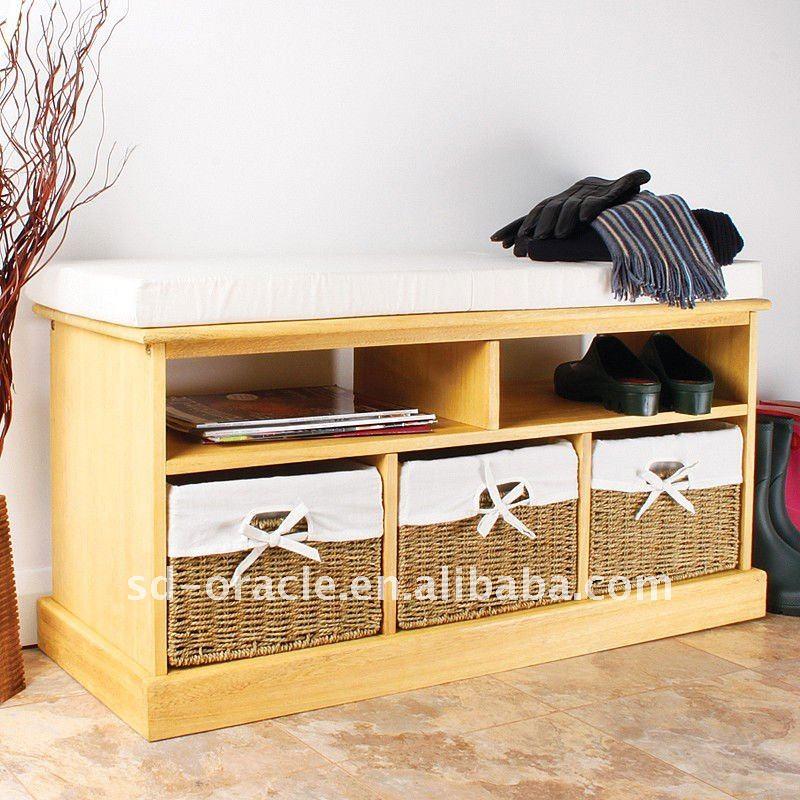 en bois banc de rangement avec panier de paille tabourets et bancs id de produit 460699700. Black Bedroom Furniture Sets. Home Design Ideas
