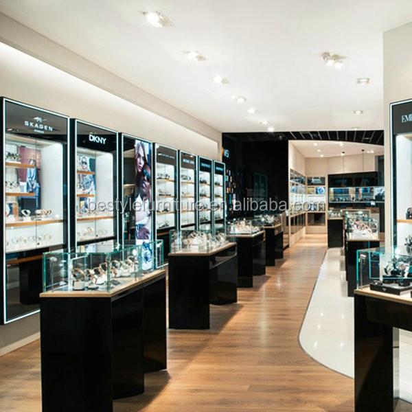 Sk4063 modern wood jewellery store interior design jewelry showroom counter