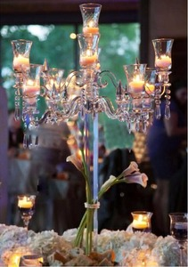 hot sale factory tall wedding 9 arms crystal glass candelabra wholesale