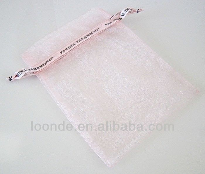 High quality baby pink organza bags with logo ribbon