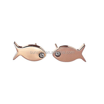 One Dollar Items From Chain Rose Gold Fish Stud Earrings Sea Animal Jewelry