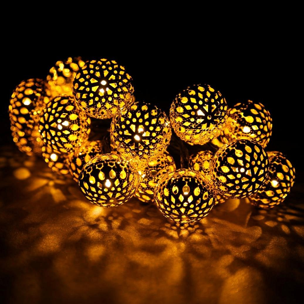 Gotd 20 LED Solar Powered String Light Indoor/Outdoor Lights Starry String Lights, Ambiance Lighting, Morocco Hollow String Light for Gardens, Homes, Parties ,Garden Decor Lamp (Gold)