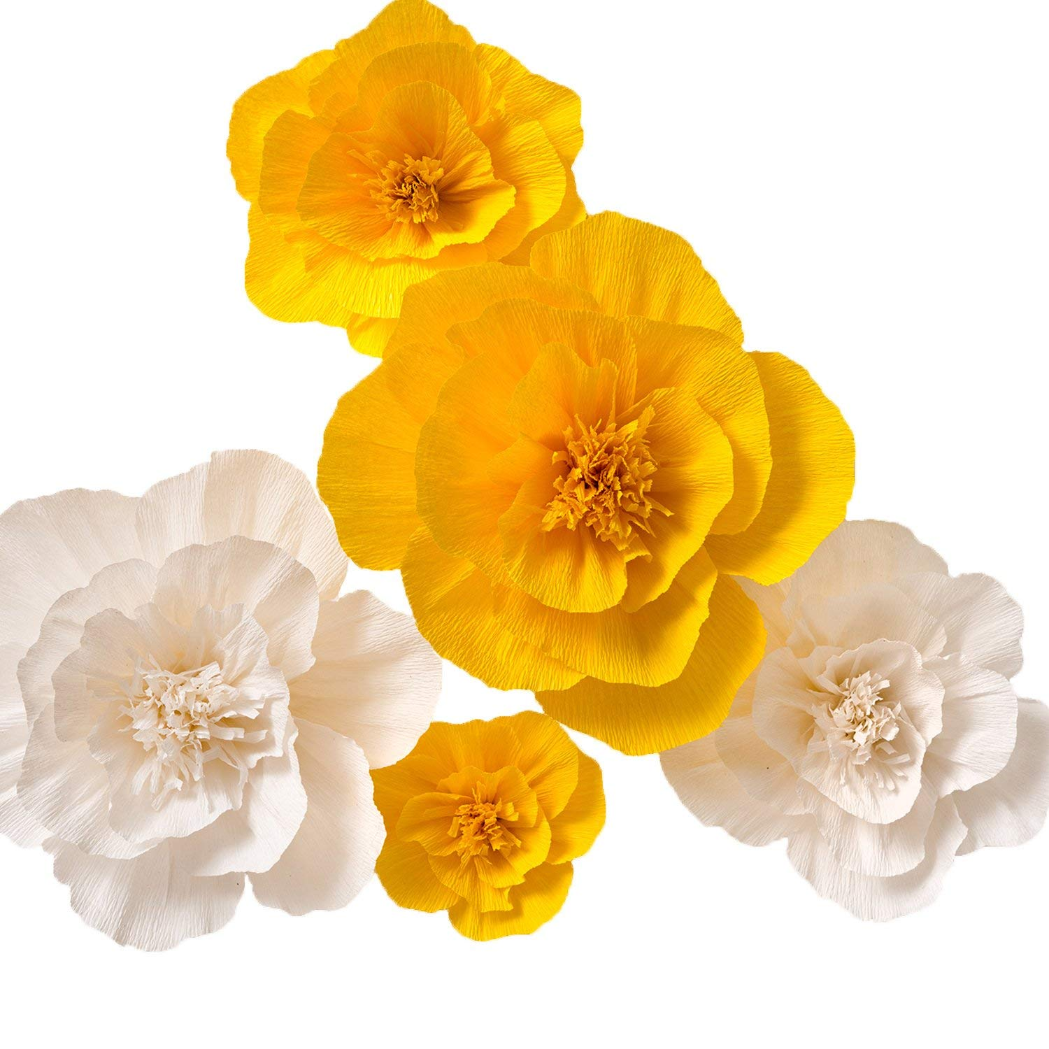 Paper Flower Decorations, Large Paper Flowers (Yellow, White, Set of 5), Handcrafted Flowers, Crepe Paper Flowers for Wedding Backdrop, Nursery Wall Decorations, Archway Decorations, Baby Shower