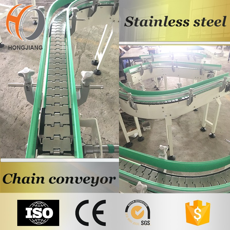 Beverage processing line, stainless steel 304 curve chain conveyor for bottles