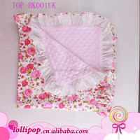 High Quality Very Soft Cotton Baby Blanket Girls Shower Gift Pink Floral Minky Dot Fleece Knitted Baby Blanket With Ruffle Trim