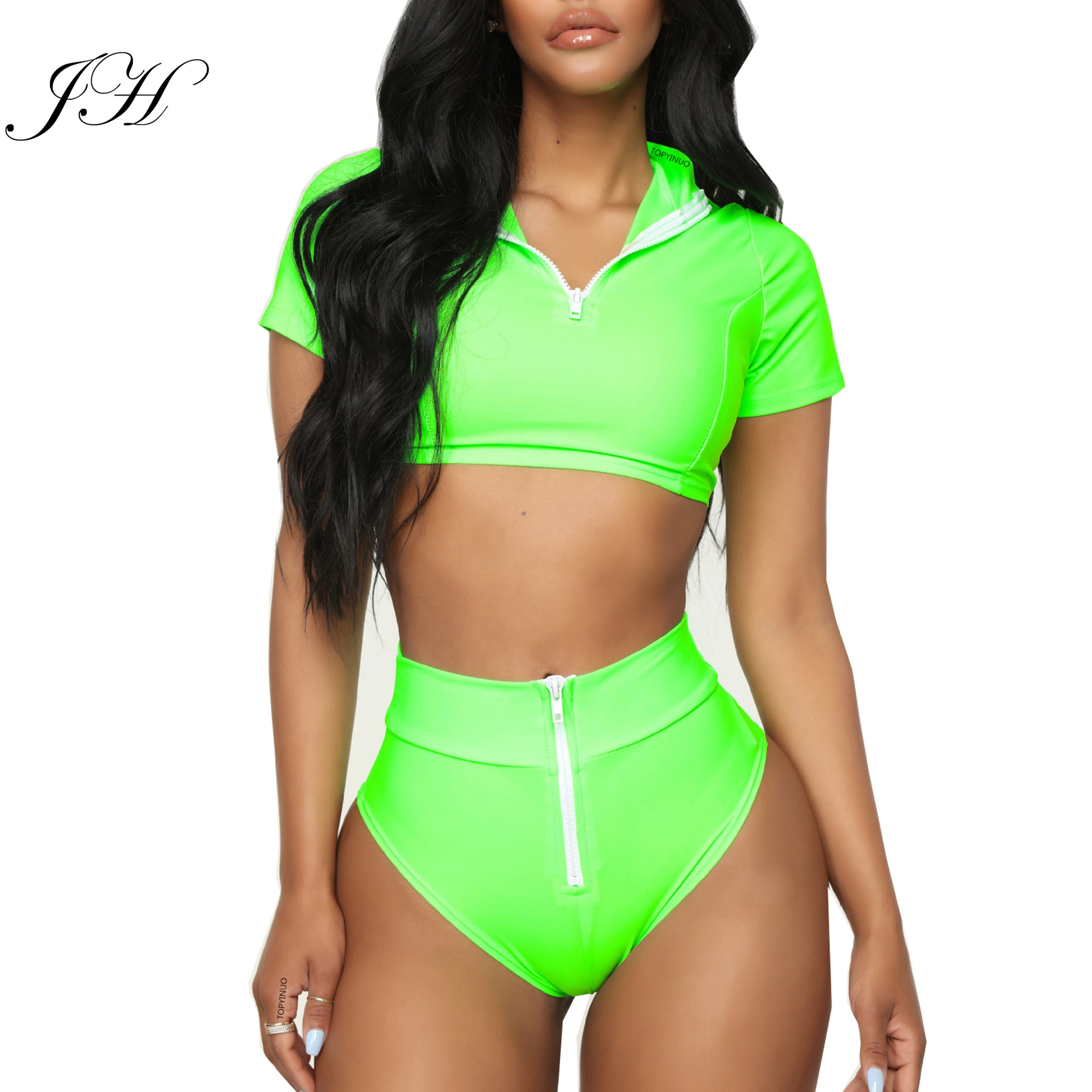 Fashion Soild Short Sleeve Front Zipper Crop Top &amp; High Waist Bottoms Two Piece <strong>Swimwear</strong> <strong>Women</strong> 2019 Swimsuit Water Sports Bikini