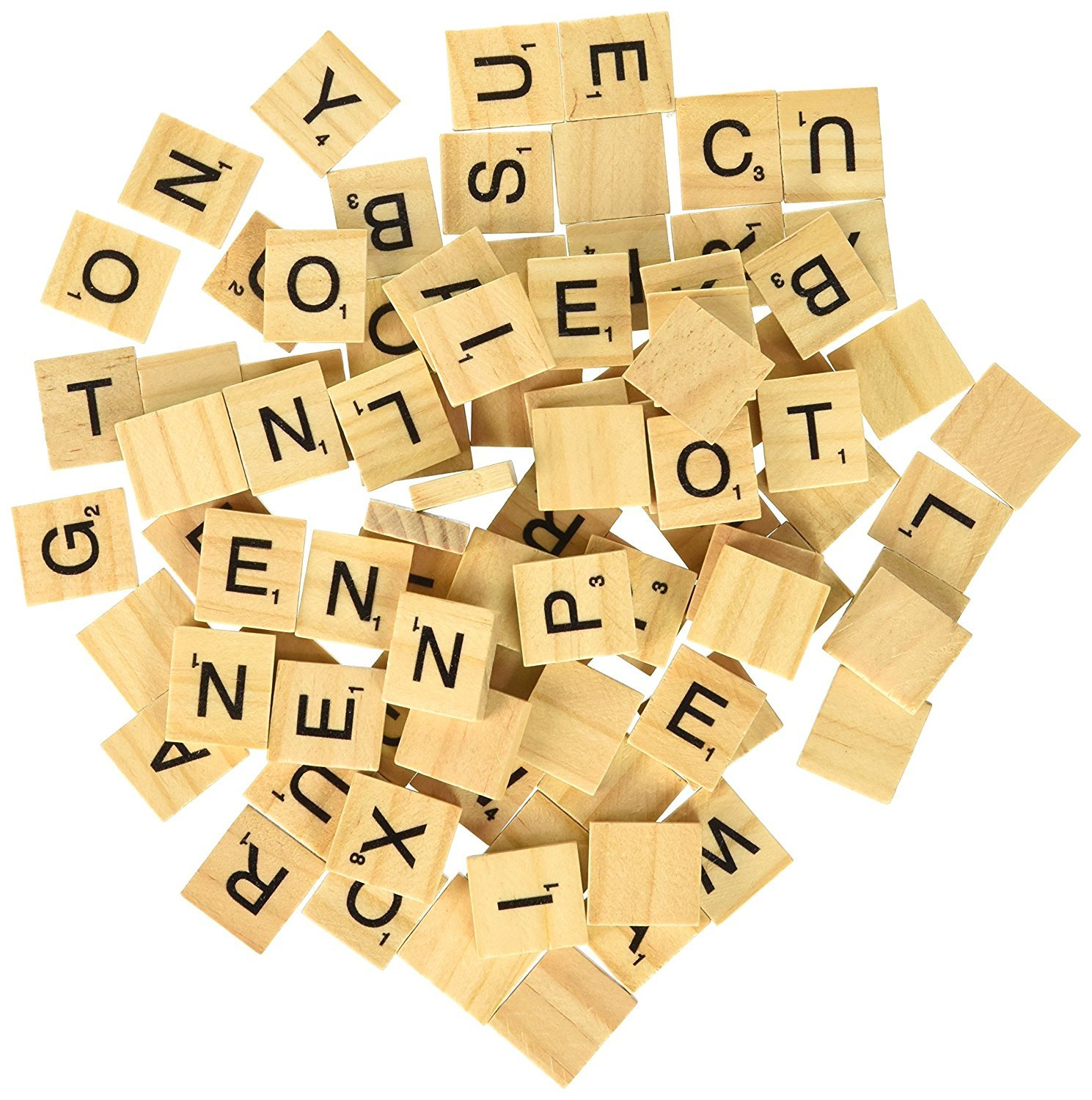Scrabble Tiles 100 Letter Tiles Wooden Scrabbles Tiles, Wooden Board Game Bulk New Crafts Scrapbooking Replacement Pendant Pieces