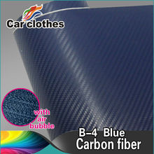 High Quality 1.52*30m Air Free Bubbles Blue PVC 3D Carbon Fiber Stickers Vinyl Film Car wrap