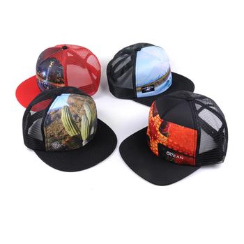86f9aa89 Print Pattern Snapback Trucker Hat Custom Flat Bill Hats