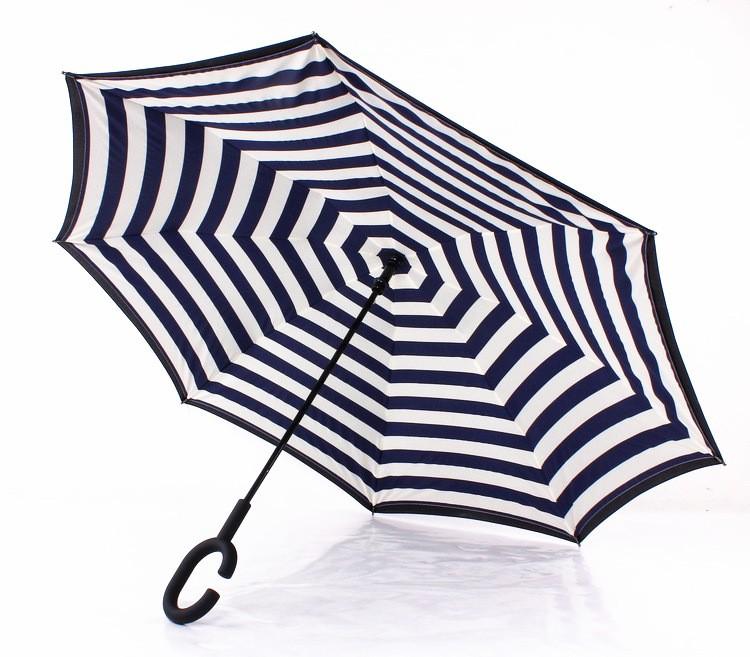 Navy Stripe Inverted Umbrellas C-shape J-shape Handle Waterproof Double  Layer Reverse Car Umbrella Paraguas Rain Umbrella - us613 ce0e9155d9b8