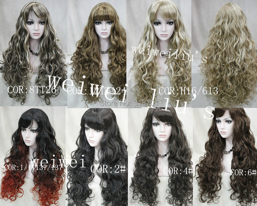 Discount Long Curly  Synthetic Hair Wig many colors for you choose free shipping