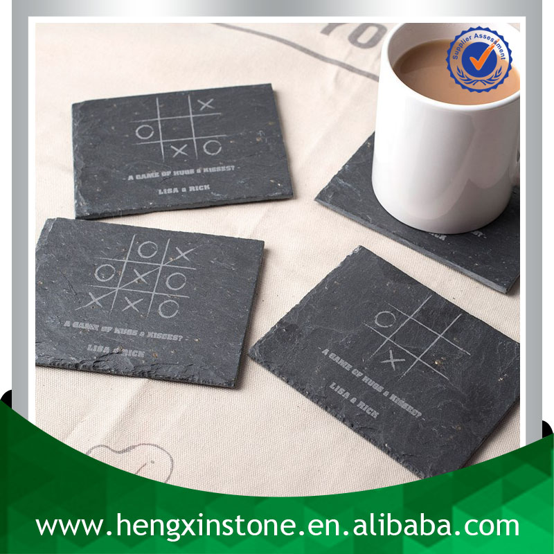 Wholesale Handmade 12*9*0.5cm Rectangle Black Promotion Slate Coaster With Laser Design(Customized ) Tea & Coffee Requirements