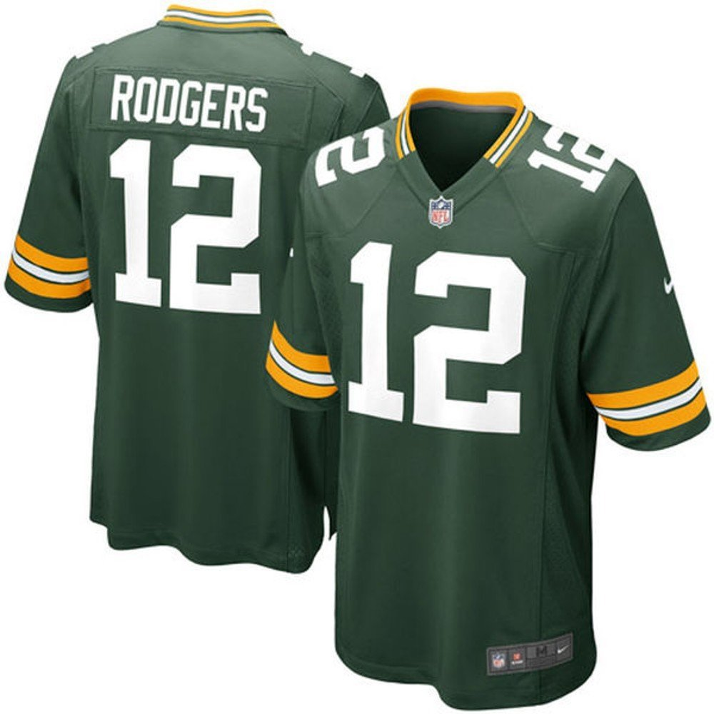 New Onfield Aaron Rodgers Youth Green Bay Packers Green Game Jersey Medium