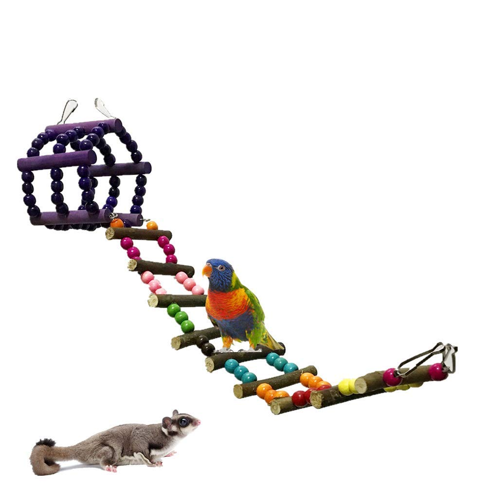 Parrot Ladder Toys, Bird Pet Swing Toy, Budgie Cockatiel Conure Cage Accessories, Colorful Bridge Ladders Hanging Climbing Chewing Toys for Parrots, Hamster, Sugar Glider