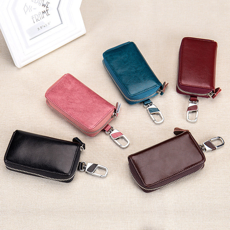 Large capacity genuine leather key wallet bag door car key holder organizer for women and men