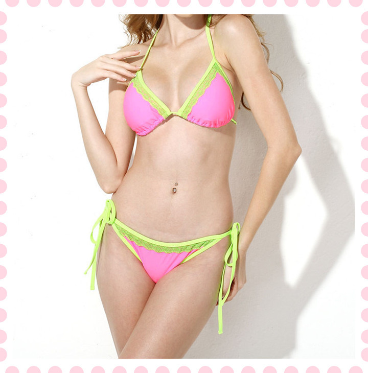 dada0d010341b New Sexy Pink + Double Green Lace Trim Triangle Top with Classic Cut Bottom Bikini  Swimwear