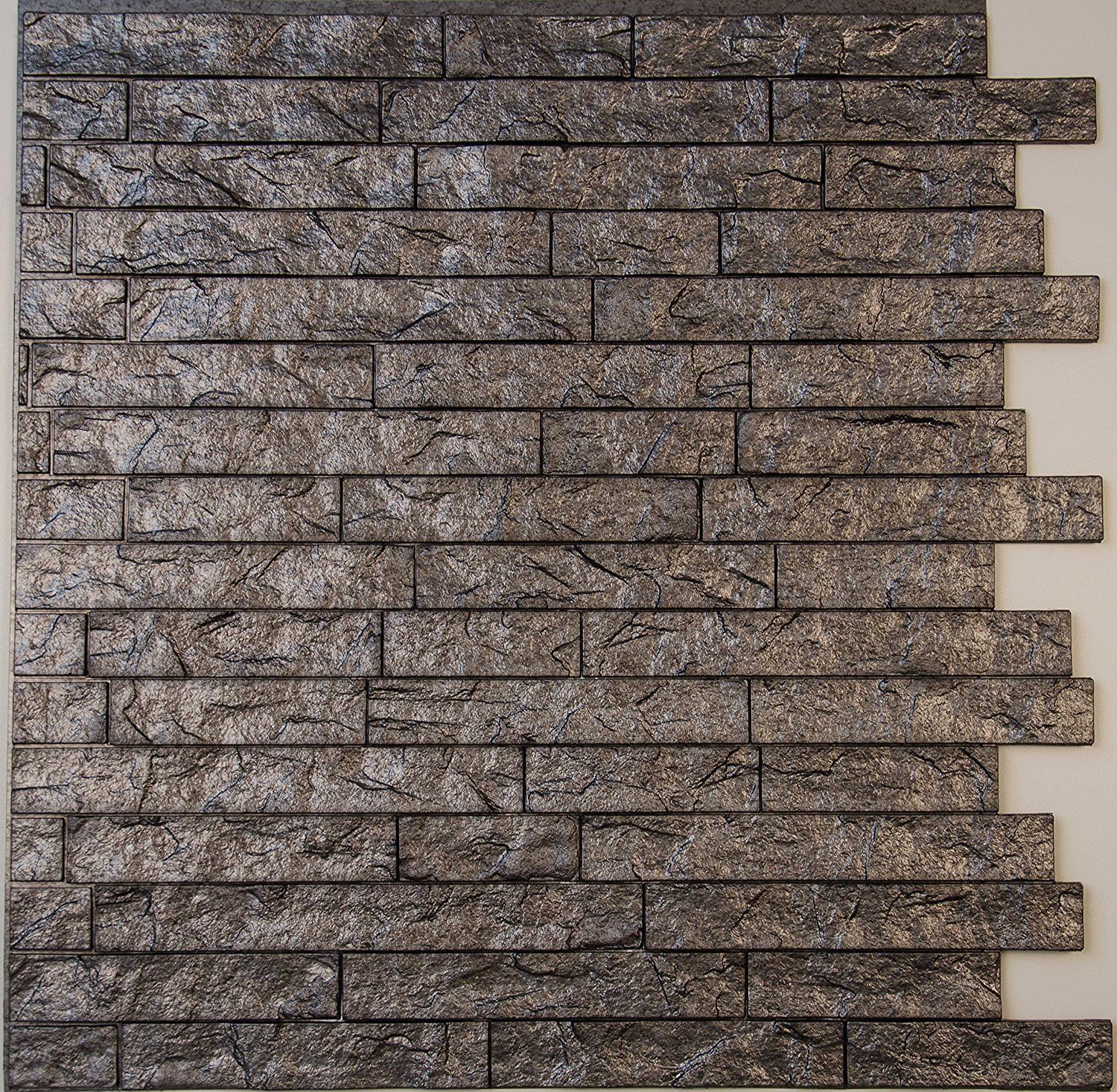 """Ledge Stone 3D Wall Panels - lightweight thermoplastic Decorative 3D Wall Tiles for easy Glue Up installation. Portland Cement Color. Pack of 4 tiles (each tile 24""""x24"""" - covers ~4 sq. ft)"""