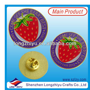 Fruit stroberry round coin badges metal merit badges gold medal lapel pin custom promotion name badges with your own logo design