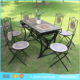 Outdoor modern garden furniture cast aluminum iron frame 6 chairs long marble dining table set