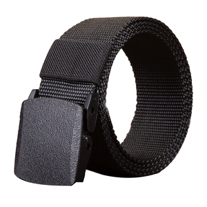 Wholesale Custom Military Outdoor Black Belts Plastic Buckle Mens Fabric Woven Polyester Nylon Belt