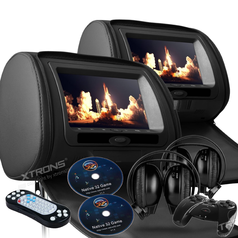 "2017 Black Dual LED Digital 9"" Headrest Dvd Players Monitors USB SD With Zipper Covers & Wireless Headphones"