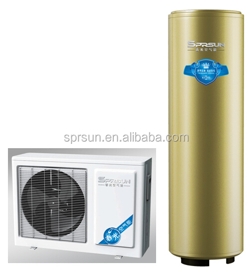 China Domestic Series air source water heater 5.5kw with 260L round water tank Split type