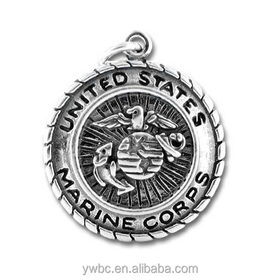 Free shipping alloy antique silver plated united states marine corps badge charm