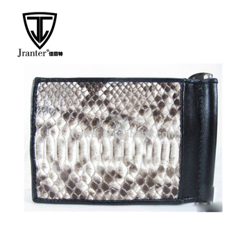 Jranter genuine python snakeskin leather money clip credit card holder
