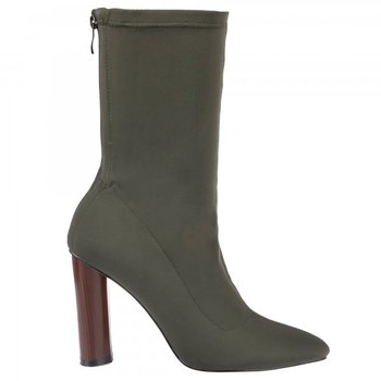 831518183f3 Sexy mature Army green Chunky heel boots for Women Lycra upper High Pointy  toe Ankle Boot