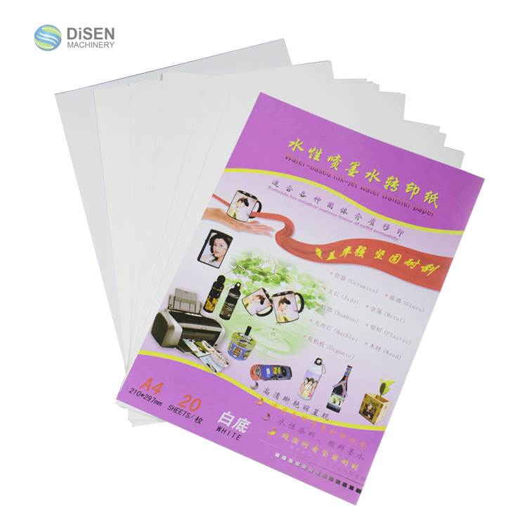 China A4 A3 A2 witte achtergrond waterbasis inkjet lege water transfer papier