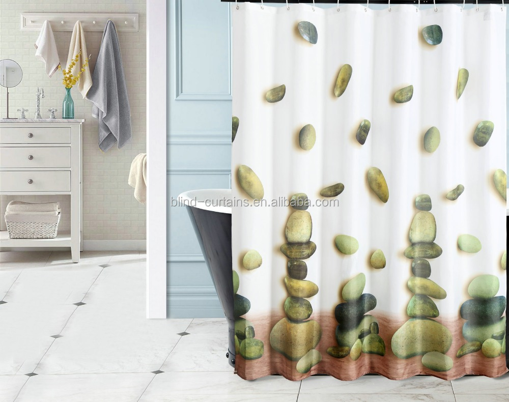 Fabric Hooked Shower Curtain With Pebbles