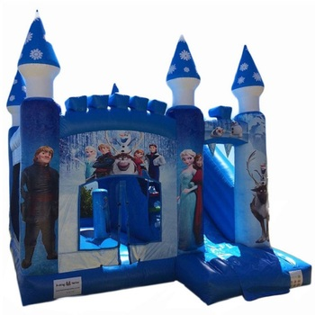 Outdoor Durable PVC Inflatable Frozen Jumping Castle Bouncer House With Slide For Rental Business