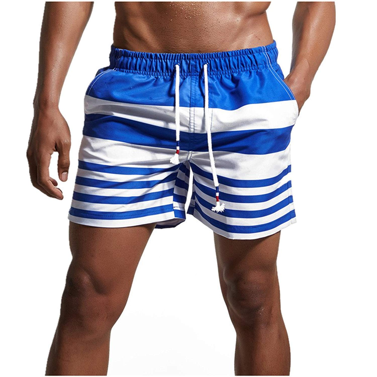 650c90fbe0097 Get Quotations · QEETUNG Men's Swim Trunks Stripe Swim Shorts Quickly Dry  Beach Broad Shorts With Pockets For Surfing