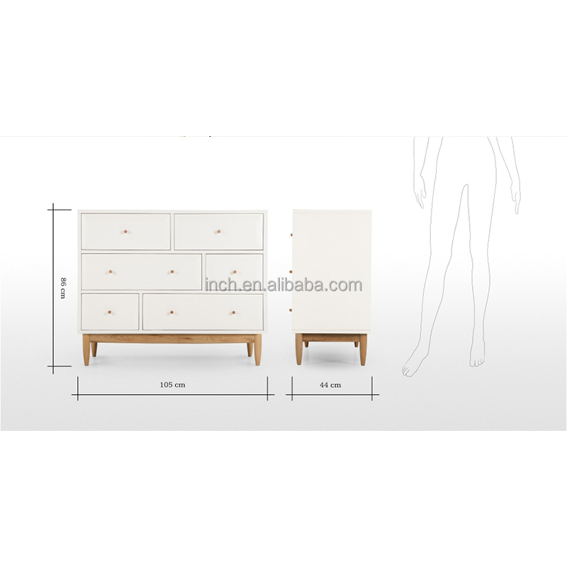 Scandinavian style white wood chest of drawers for living room <strong>furniture</strong>