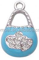 Ladies' Small Handbag Zinc Alloy Enamel Charms with Rhinestones