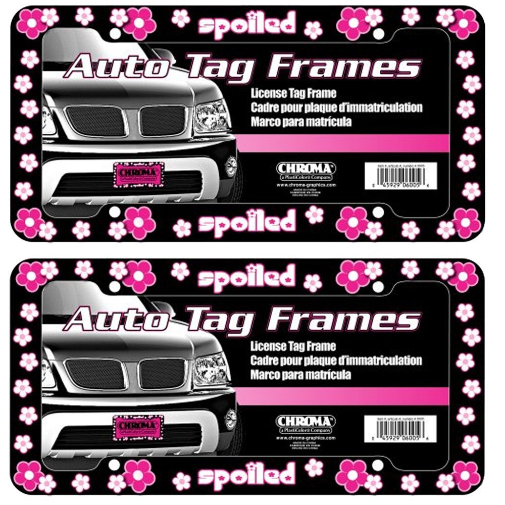 Spoiled with Pink and White Flowers Auto Car Truck SUV Vehicle Universal-fit License Plate Frame - Plastic - PAIR