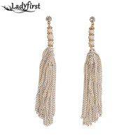 Ladyfirst 2016 Long Tassel Cotton Boho Vintage Statement Bohemia Earring Big Brand Fashion Brazil Games Mai Stud Earring 3466