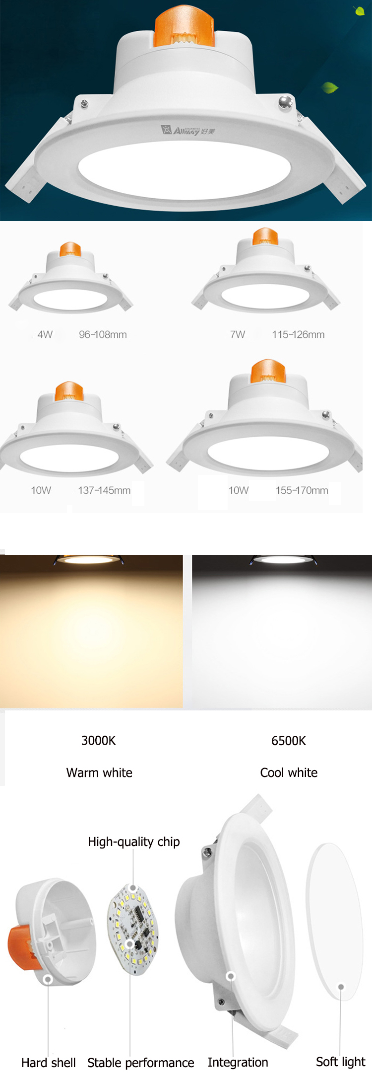 6inch 10W Cutout 170mm On / Off Dimming Sensor Equipped LED Recessed Downlight with Microwave Motion Sensor