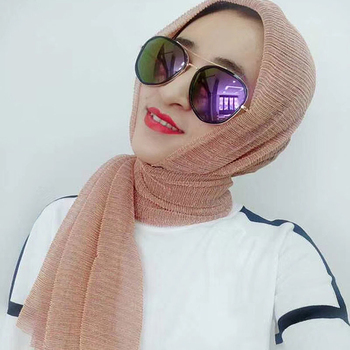 Hot Sell Gold Silk Muslim New Style Polyester Glitter Color Solid Plain Scarf Hijab Wholesale