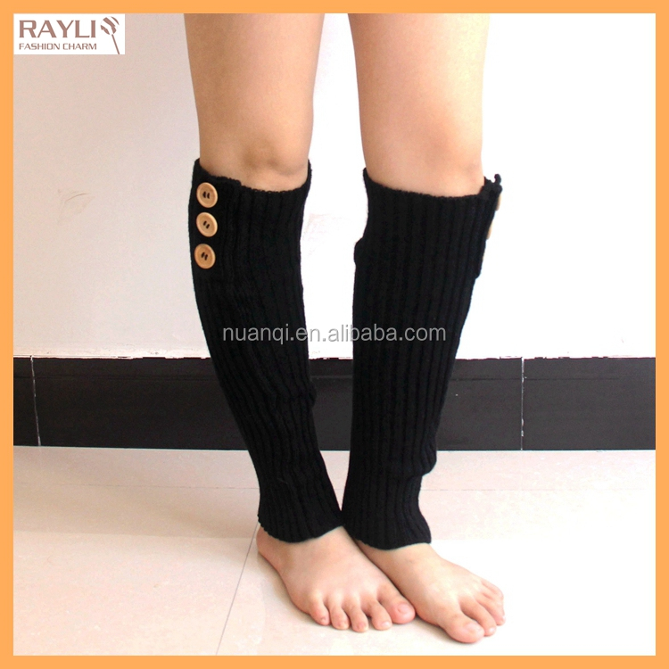2016 Wholesale Factory Price New Women's Fashion Knit Crochet Winter Boot Socks W/ buttons