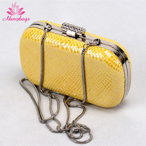 16*10cm Leather Mesh Metal Frame Clutch Purses With Long Chains